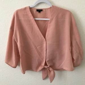 TopShop Tie Front Cropped Blouse (0208)